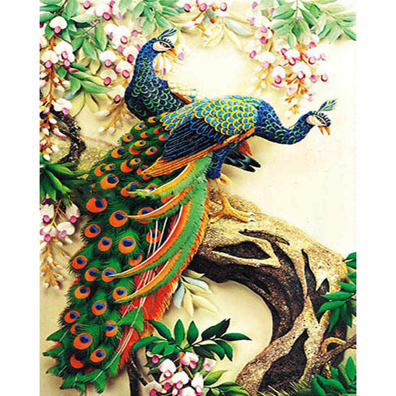 Peacocks Animal DIY Digital Painting By Numbers Modern Wall Art Canvas Painting Unique Gift Home Decor 40x50cm