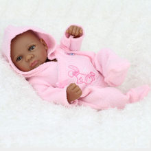 H7405 10 inch Reborn Girl African American Black Baby Doll Realistic Lifelike Reborn Babies Mini Doll Not include Bear Toy(China)