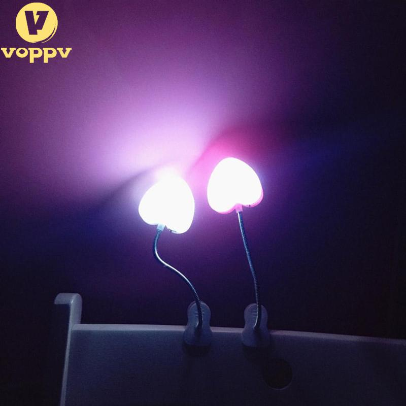 VOPPV USB Led Reading Lamp With Clip For Eye Protection Love Heart Table Light Lamp For PC Laptop For Reading Table Lamp NZD4699 ...