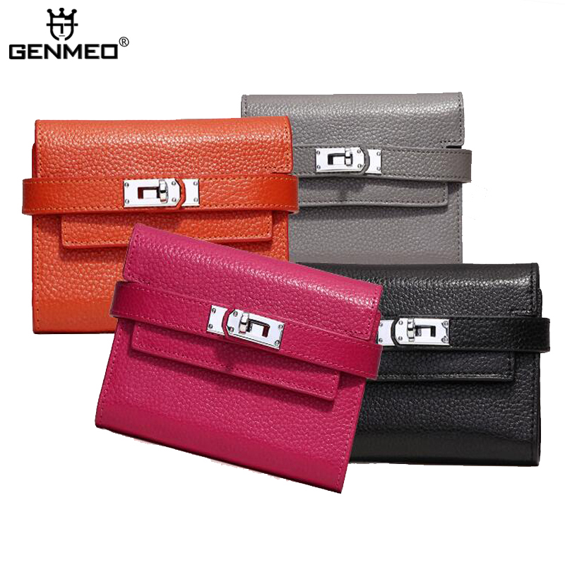 MAIFEINI Famous Design Brand 3Folds Cow Leather Wallet Women Genuine Leather Wallets Ladies Clutch Purse Card Holder Handbag