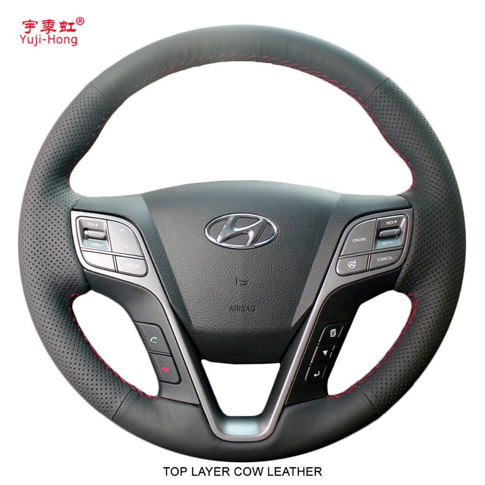 Yuji Hong Top Layer Genuine Cow Leather Car Steering Wheel Covers Case for Hyundai SantaFe 2013
