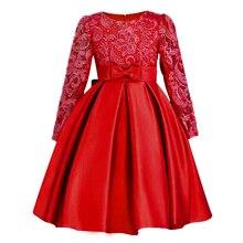 ChristmasGirls Dresses Long sleeve Bud silk bowknot Clothes Wedding Party Dress For Girl Children's Princess Dresses