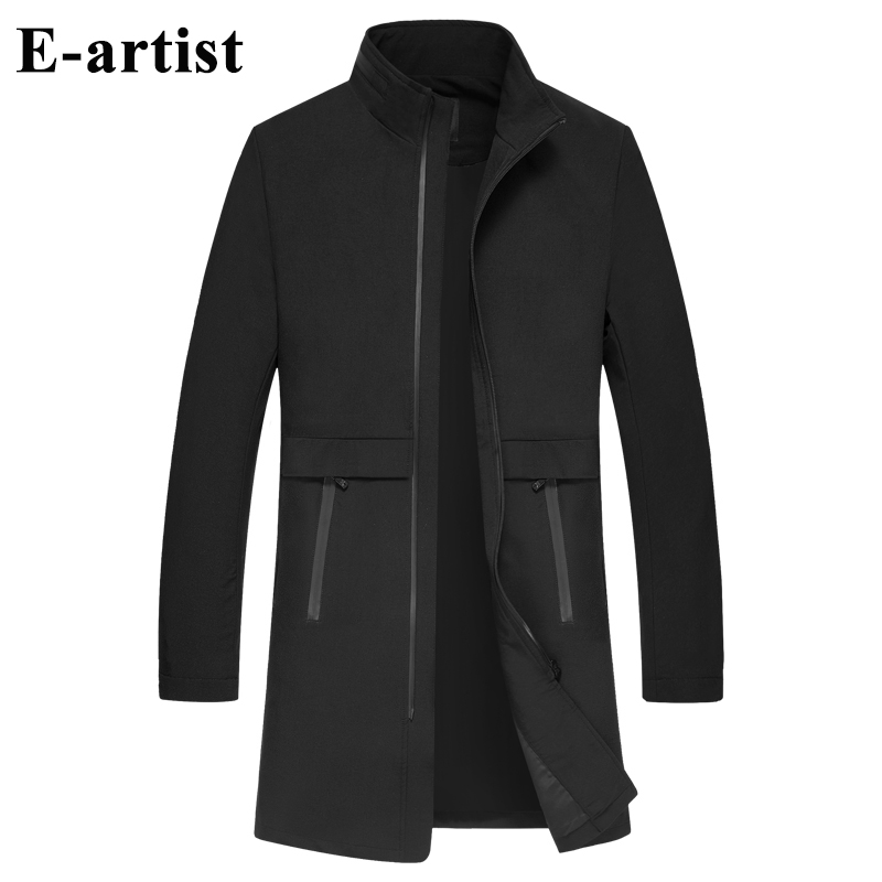 Men's Stand Collar Casual Long Zipper   Trench   Coats Male Spring Autumn Outwear Overcoats Jackets Windbreakers F36