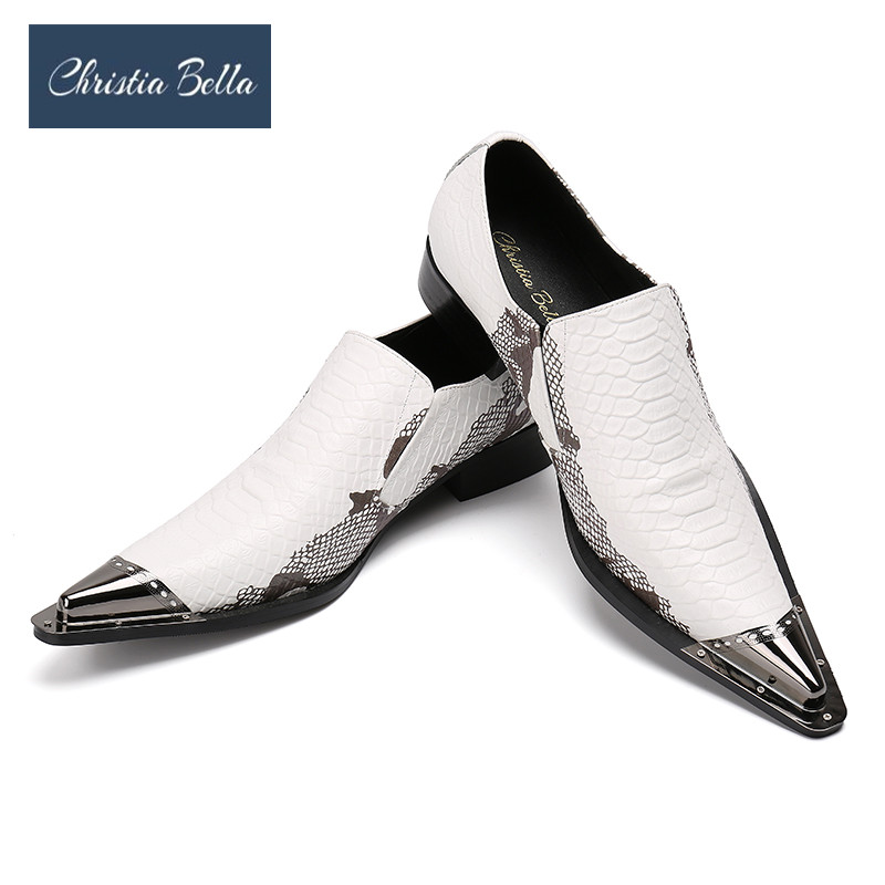 Christia Bella Men's Genuine Leather Shoes Brand New Business Party Dress Shoes White Fashion Casual Men Flats Oxfords Plus Size 2017 new fashion men formal leather dress shoes quality brand mens dress oxfords flats plus size 38 46