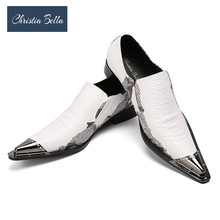 Christia Bella Men's Genuine Leather Shoes Brand New Business Party Dress Shoes White Fashion Casual Men Flats Oxfords Plus Size