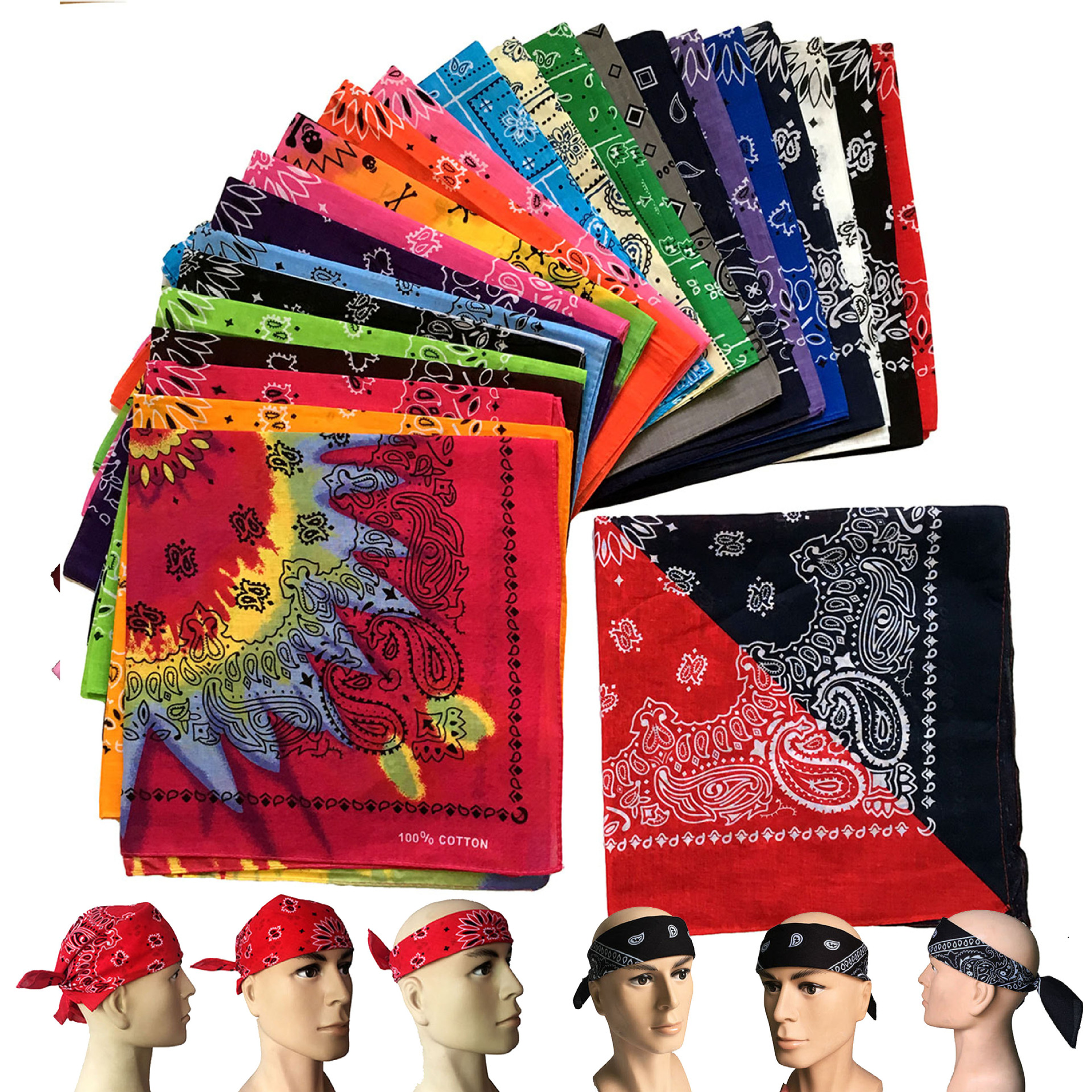 New 55CM*55CM 100% Cotton Black And White Red Skull And Paisley Bandana For Mens/Boys/Womens/Girls