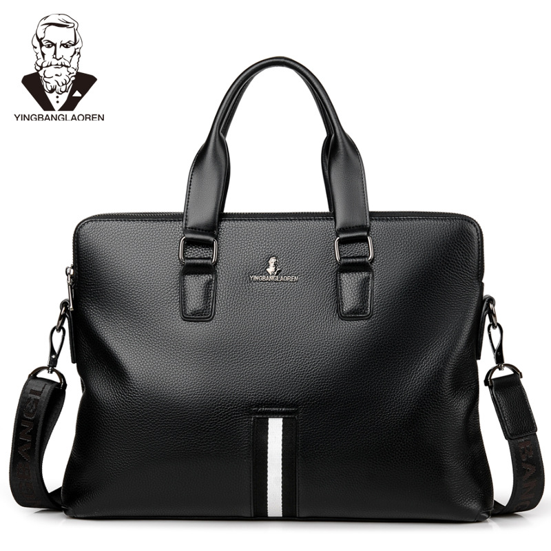 Men's Business Briefcase PU Leather  Laptop Handbag  Shoulder Bag Cross Body Bag Double Layers Messenger Bag Male Travel Bag