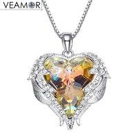 Veamor תליוני כנפי מלאך מתנה עבור תכשיטי נשים קריסטל שרשרת לב שרשראות צבעוניות קריסטלים סברובסקי מקורי