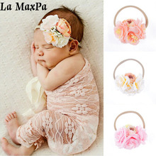 Flowers Hair Bands With Pearl Fine Nylon Elastic Headband Boutique Headwear For Newborn Accessories