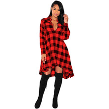 Retro Fashion Ladies Plaid Long Shirt Europe New Style Polo Collar Long Sleeve Big Dwing Dress Single-breasted Pure Cotton Dress