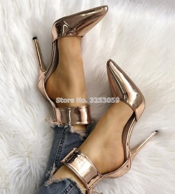 ALMUDENA Ladies Sexy Rose Gold Patent Leather Pointed Toe Pumps Thin High  Heel Ankle Strap Square Buckle Wedding Shoes Dropship 5adeb69f8128