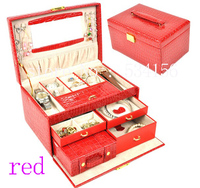 luxurious pu 3 layers leather jewelry box earrings jewelry packaging red display box gift box jewelry holder 28.5 * 19 * 16 cm