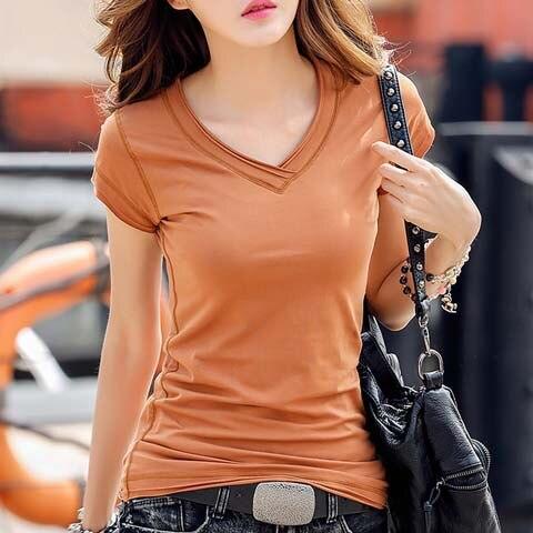 New 2018 Summer T Shirt Women Tops Tees Cotton Casual T-shirts V-neck Short Sleeve Female T-shirt Fashion White Black Tshirt Top