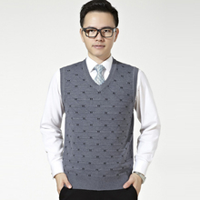 Hot Sell Men Autumn Winter Warm Pattern Dot Sweaters Sleeveless Solid V-Neck Fashion Casual Slim Pullovers Clothes Tops New