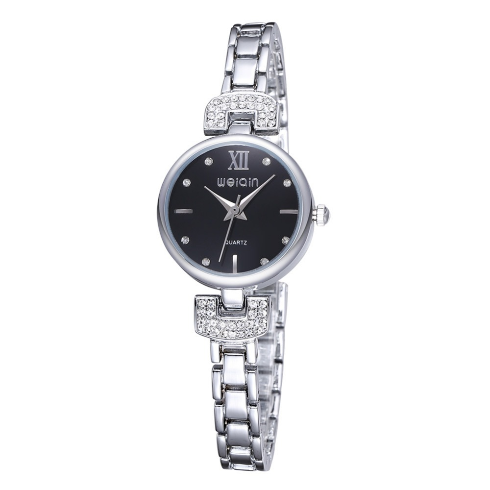 WEIQIN Bling Crystal Women Girl Stainless Steel Quartz Wrist Watch Bracelet Analog Ladies Dress Quartz Watches