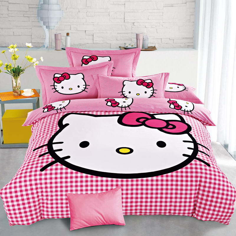 XINLANISNOW Hello Kitty Bedding Set Family Home Textiles 3/4 Pcs Bed  Clothes Bedlinen Bedclothes Duvet Cover Twin Full Queen