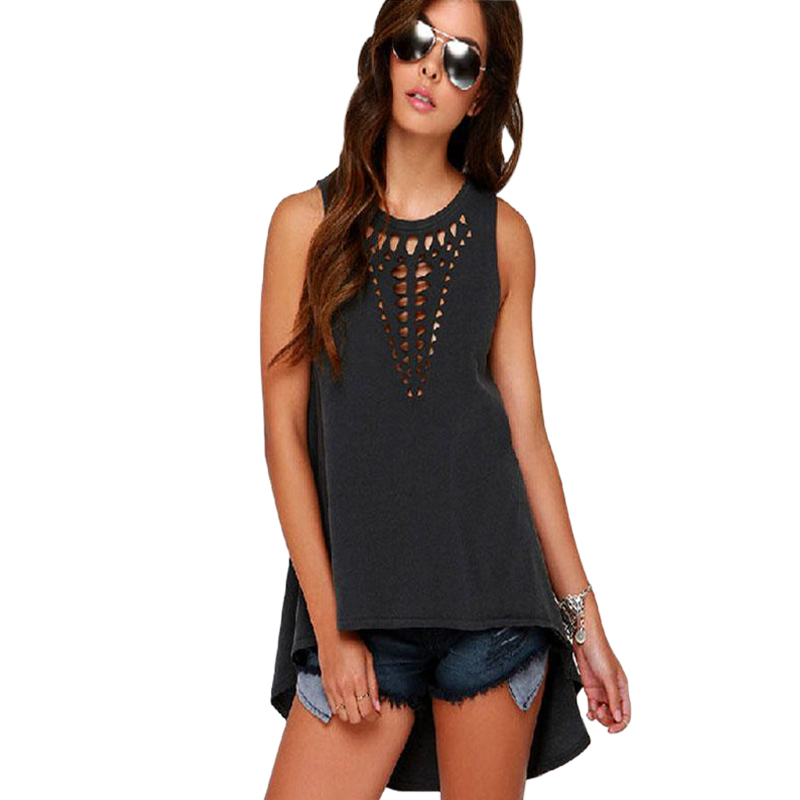 New Fashion Burst Laser Hollow Chest Sleeveless Long Dovetail Vest Female Summer Solid Color Shirt Puls Size Tank Top Women Tops