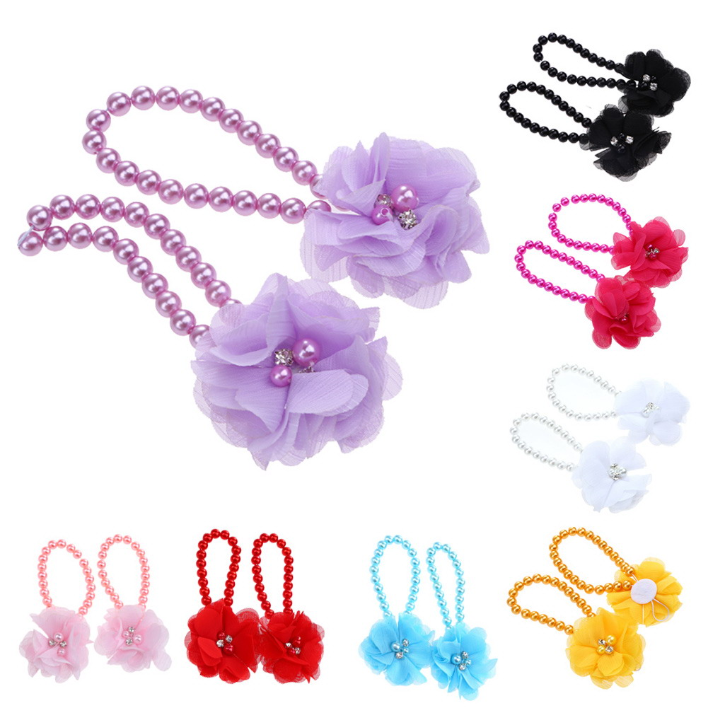 Newborn Baby Girls Flower Pearl Barefoot Flower First Walker Baby Girl Feet Decoration Accessory Multi Colors for 1-36M