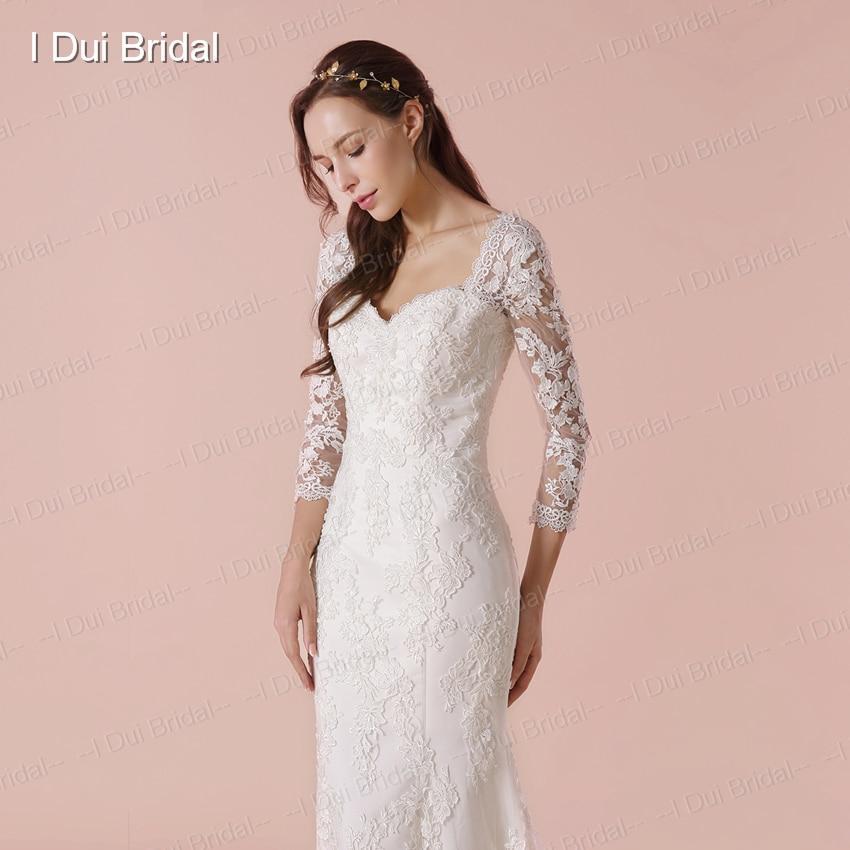 Three Quarter Sleeve Wedding Dress With High Quality Lace Sheath ...