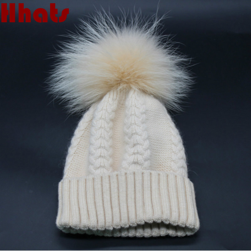 Which in shower high quality 100% real raccoon fur pompom winter women hat thick warm real mink fur pom pom knitted wool beanies 2017 women winter beanies hat wool hat skull high quality warm lady knit caps real raccoon fur pom poms gorros rhinestone bonnet
