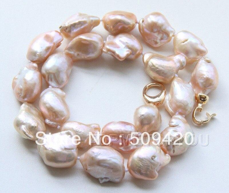 ~~ Free ShippingWOW! BIG 22mm Natural pink Baroque Reborn Keshi pearls necklace цена и фото