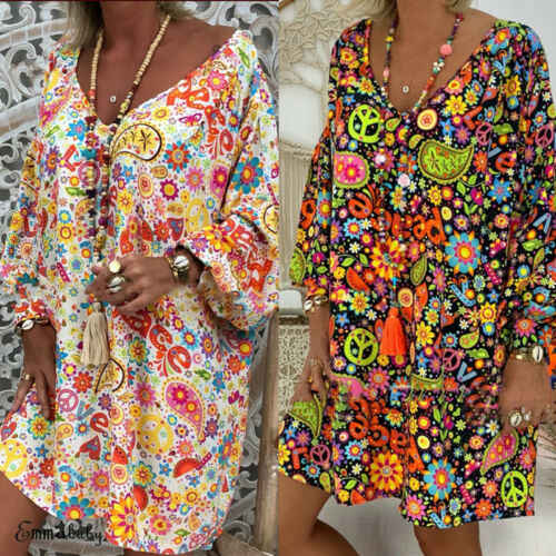 Summer Women Short Sleeve Boho Casual Loose Floral Oversized Kaftan Mini Dress Ladies Short Dress Plus Size Tunic Gypsy Ethnic