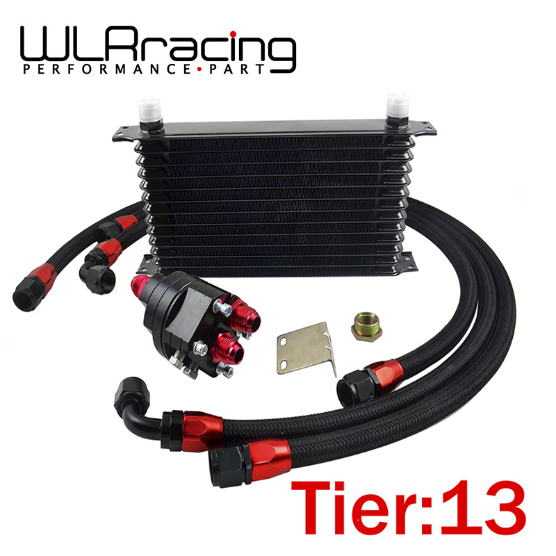 WLR RACING   Universal 13 Row 10AN Aluminum Engine Transmission Oil Cooler Relocation Kit|transmission oil cooler|oil relocation kit|engine oil cooler kit - title=