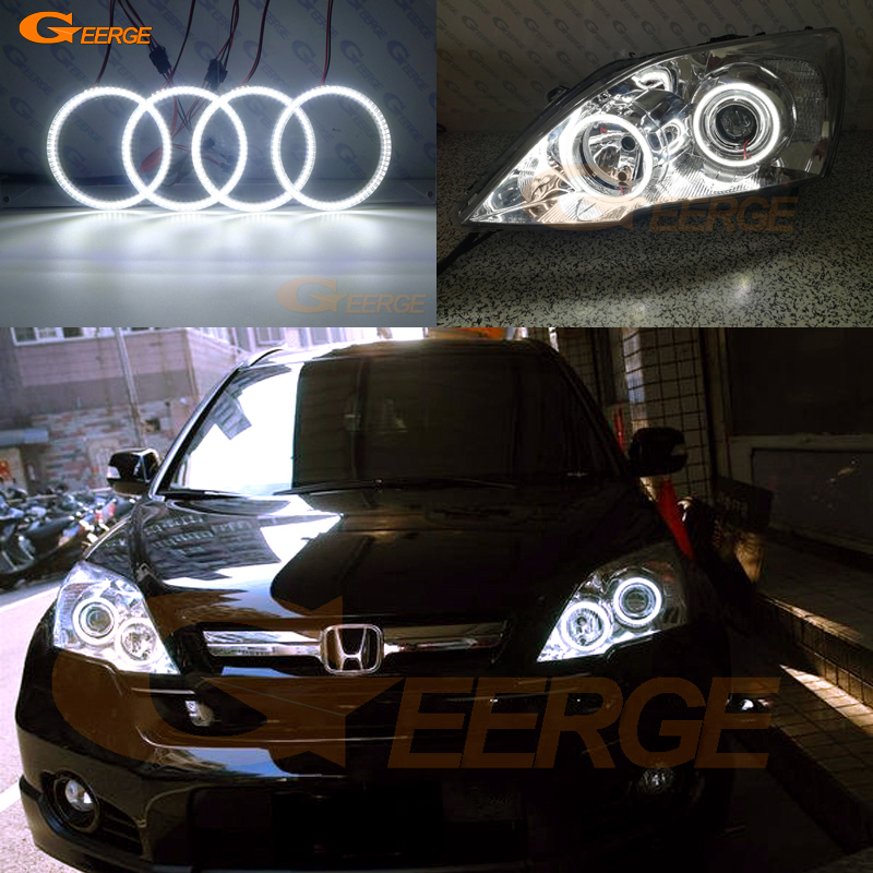 For HONDA CR-V CRV 2010 2011 PROJECTOR HEADLIGHTS Excellent Ultra bright illumination smd led Angel Eyes kit DRL for honda cr v crv 2007 2008 2009 2010 2011 projector headlights excellent ultra bright smd led angel eyes halo ring kit