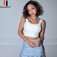 HAGEOFLY 2018 New HL Bandage Crop Tops White Rayon Short Sexy Party Tank Tops Women Club Wear
