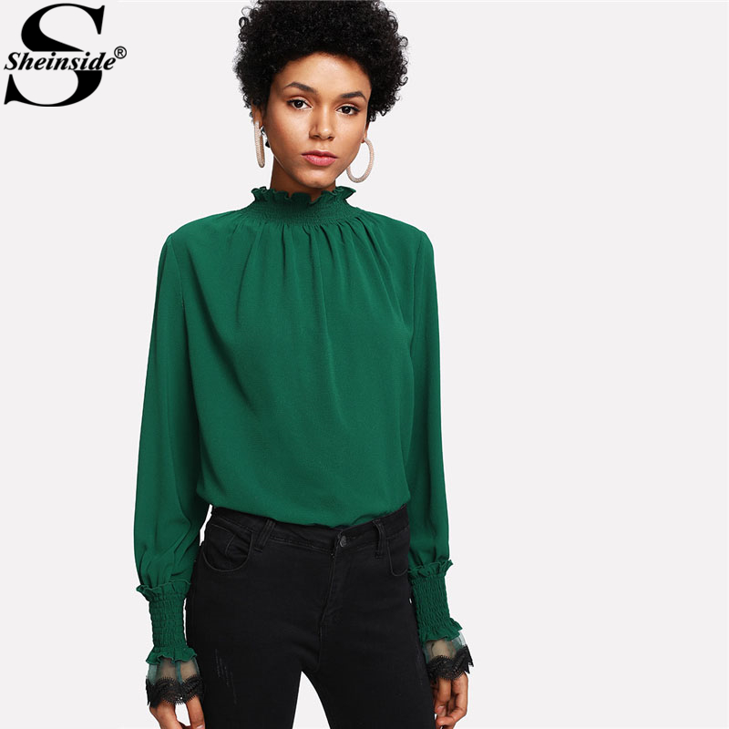 Sheinside Casual Green Blouse Women Stand Collar Butterfly Sleeve Contrast Lace Mesh Plain Top 2018 Spring Elegant Blouse