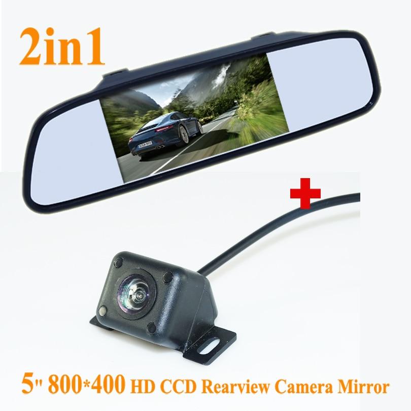 imágenes para A la Venta 5 Pulgadas TFT Color LCD de Coches Retrovisor Monitor Del Espejo + 4 IR de Visión Nocturna Que Invierte La Cámara Para El Estacionamiento de copia de seguridad