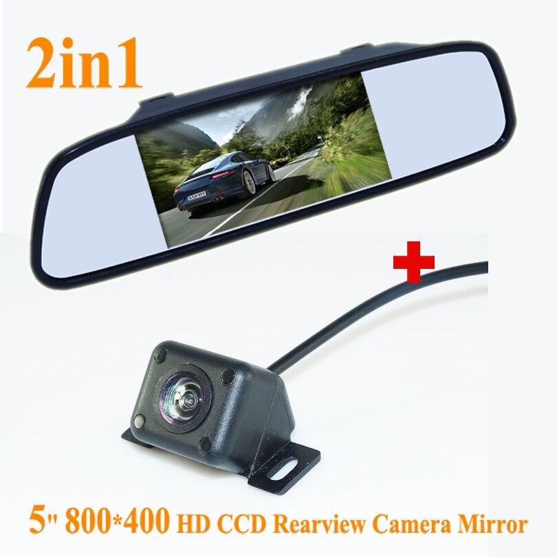 En vente 5 pouces TFT LCD couleur voiture rétroviseur moniteur + 4 IR Vision nocturne caméra de recul pour stationnement de secours