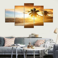 Modern Frame For Painting Canvas 5 Panel Sunset Palm Trees Landscape Painting Cuadros Home Decor Art Print Modular Picture YGYT
