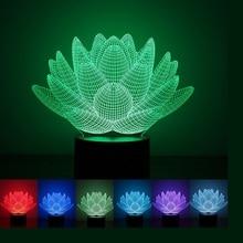 Цветок лотоса 3D USB Led Night Light 7 Цветов Изменение Новогоднее Настроение Лампы Сенсорный Кнопка Дети Гостиная, Спальня Стол, рабочий стол Освещения