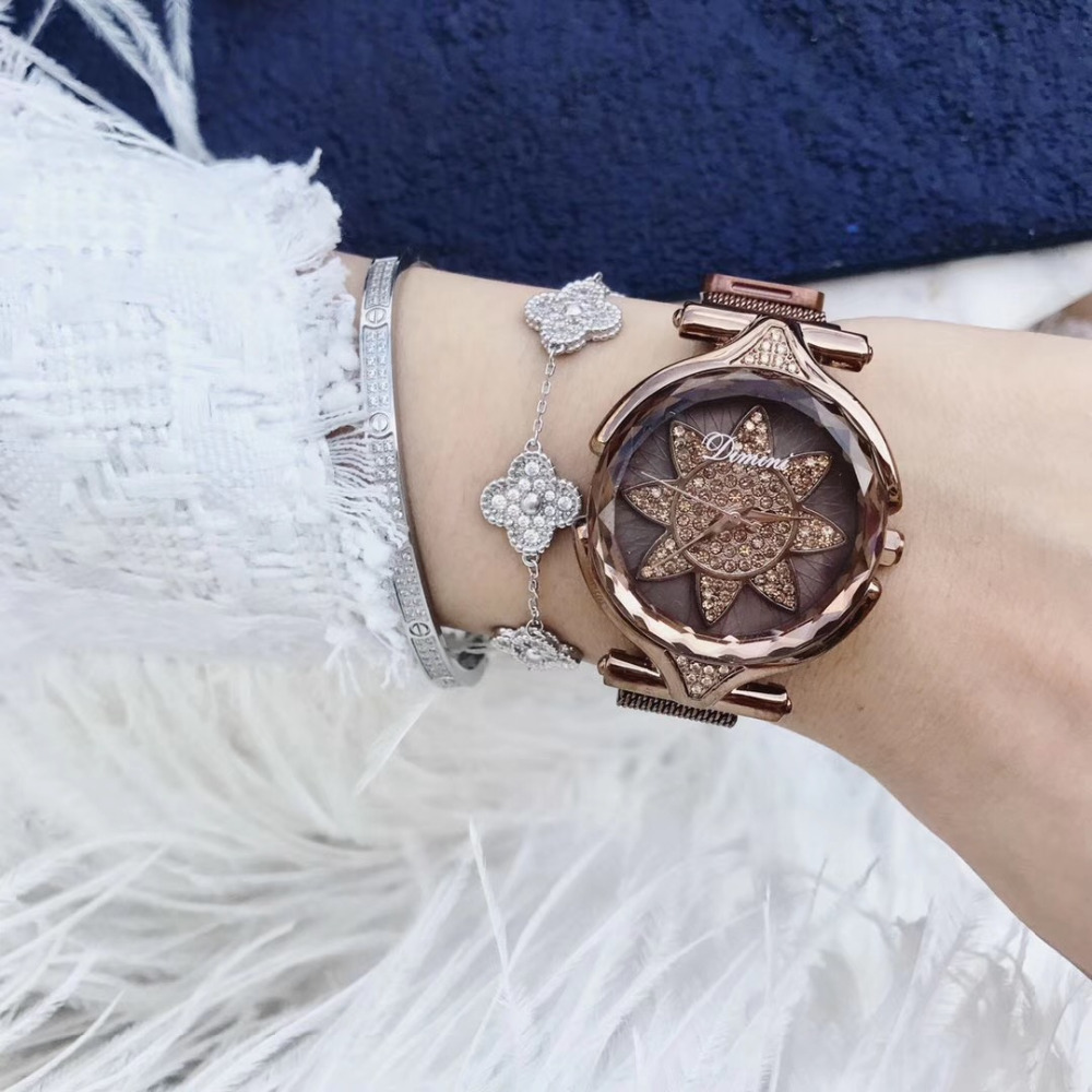 New Fashion Caramel Milanese Watches for Women Cool Sexual Cold Wind Sunflowers Crystal Wrist watch Magnet Bracelet Watch QuartzNew Fashion Caramel Milanese Watches for Women Cool Sexual Cold Wind Sunflowers Crystal Wrist watch Magnet Bracelet Watch Quartz