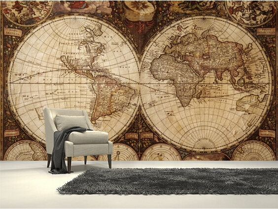 Custom children's wallpaper,Vintage World Map,3D cartoon murals for the living room bedroom children's room wall papel de parede the physical world wall map material laminated