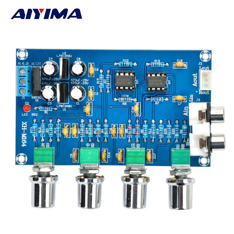 Aiyima HIFI Enthusiasten Ton NE5532 Verstärker Ton Preamp Brett 2,0 Audio Verstärkerplatine Höhen Bass Einstellung