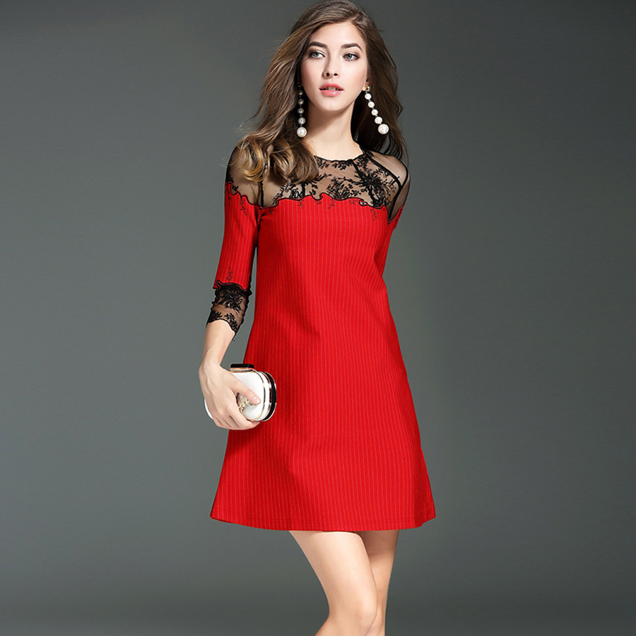 Ladies Vintage Dresses 3/4 Sleeve Fashion Black Mesh Patchwork Noble Classic Work New 2017 Early Autumn Loose Mini Red Dress