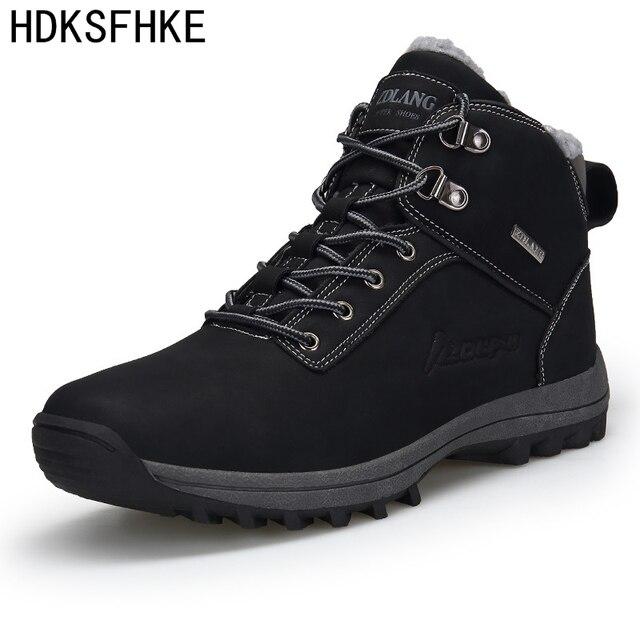 Большие размеры 39-46, зимние мужские ботинки мужские повседневные модные зимние мужские Ботильоны мужские кожаные ботинки на меху, сохраняю...