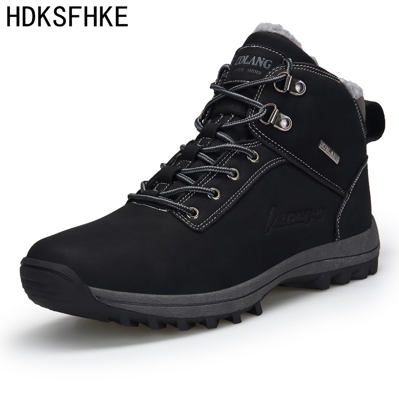 Big Size 39-46 Winter Mens Boots Men Casual Fahsion Snow Men Ankle Boots Men Leather Boots For Men Shoes With Fur Keep Warm W369