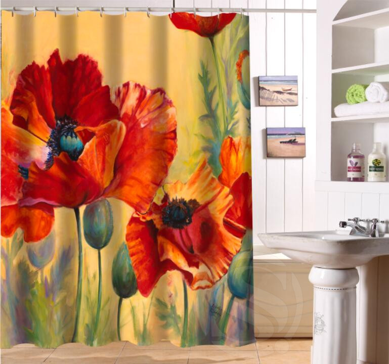 Popular Custom Beauty poppy Bathroom Shower Curtain beautiful Bathroom Decor polyester shower curtain fabric