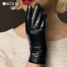 Boouni luvas de couro genuíno feminino outono inverno mais quente veludo moda preto pele carneiro luva nw705