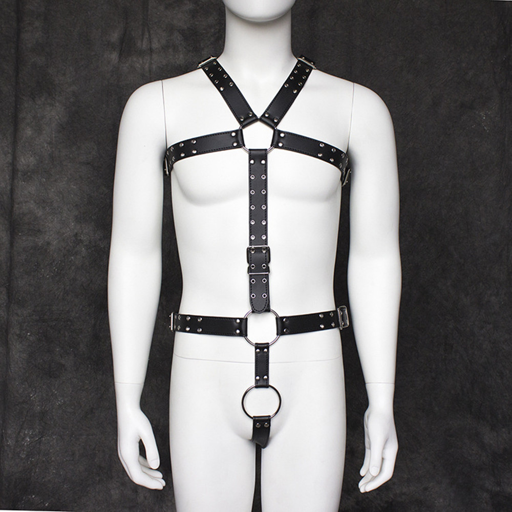 PU Leather Bondage Slave Restraint Straps Belts Male Chest Harness In Adult Games Fetish Sex Toys For Men