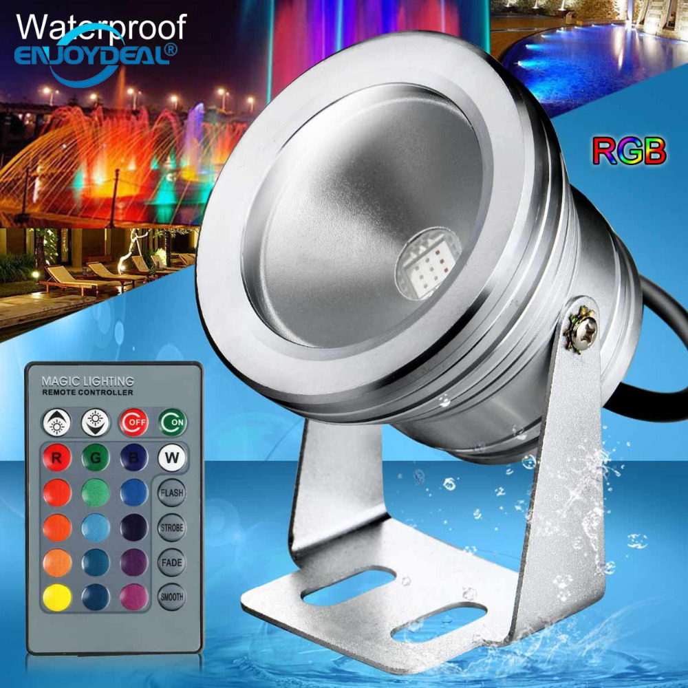 enjoydeal 10W Waterproof LED Projector Lamp Spotlight RGB Bulb Fountain Pool Lamp Spotlight With Remote ControlI P65 For Outdoor