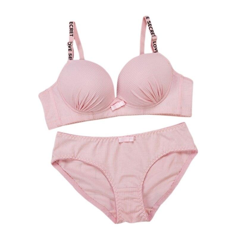 New Sexy Letter Pleated Lace Bow   Bra     Set   women/Girls   Bra     Briefs     Set   Cotton Push Up Underwear   Bras   Suit 3/4 Cup 4Color Brassiere