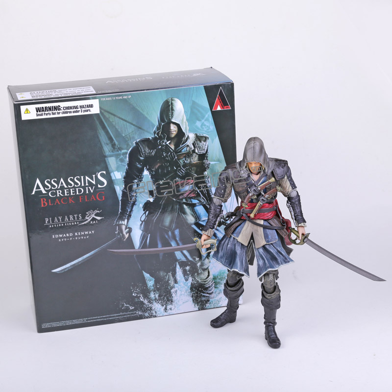 Play Arts KAI Assassin's Creed Black Flag Edward Kenway PVC Action Figure Collectible Toy 27cm 27cm play arts kai movable figurine assassin s creed edward pvc action figure toy doll kids adult collection model gift