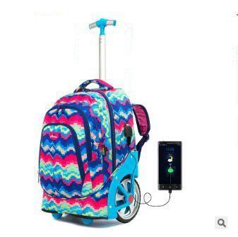 Sac à dos à roulettes pour adolescentes, 18 pouces, sac à dos à roulettes pour filles, pour enfants, sacs à rouler