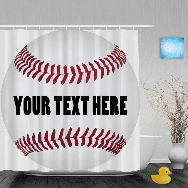 Customize Baseball With Name Shower Curtain Custom Sports Theme Bathroom Curtains Polyester Fabric Hooks
