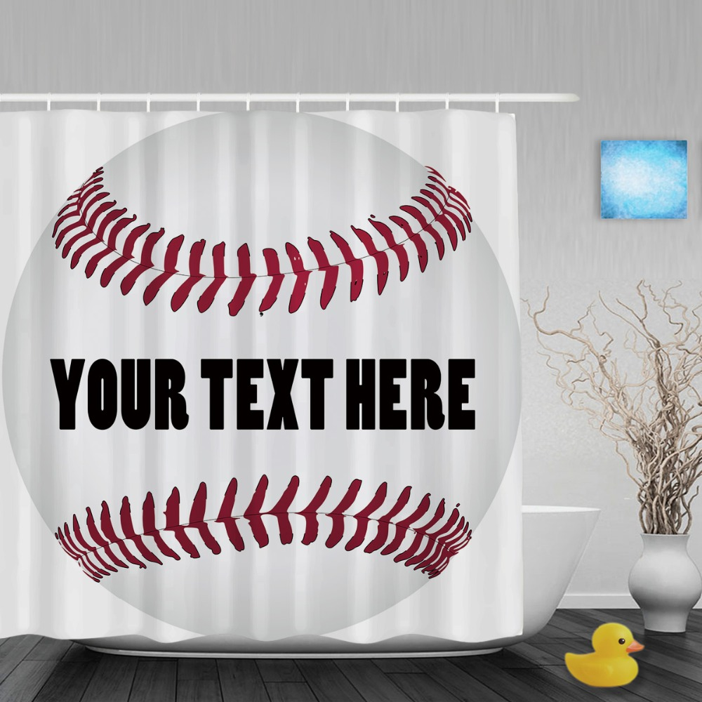 Sports shower curtain - Customize Baseball With Name Shower Curtain Custom Sports Theme Bathroom Shower Curtains Polyester Waterproof Fabric With