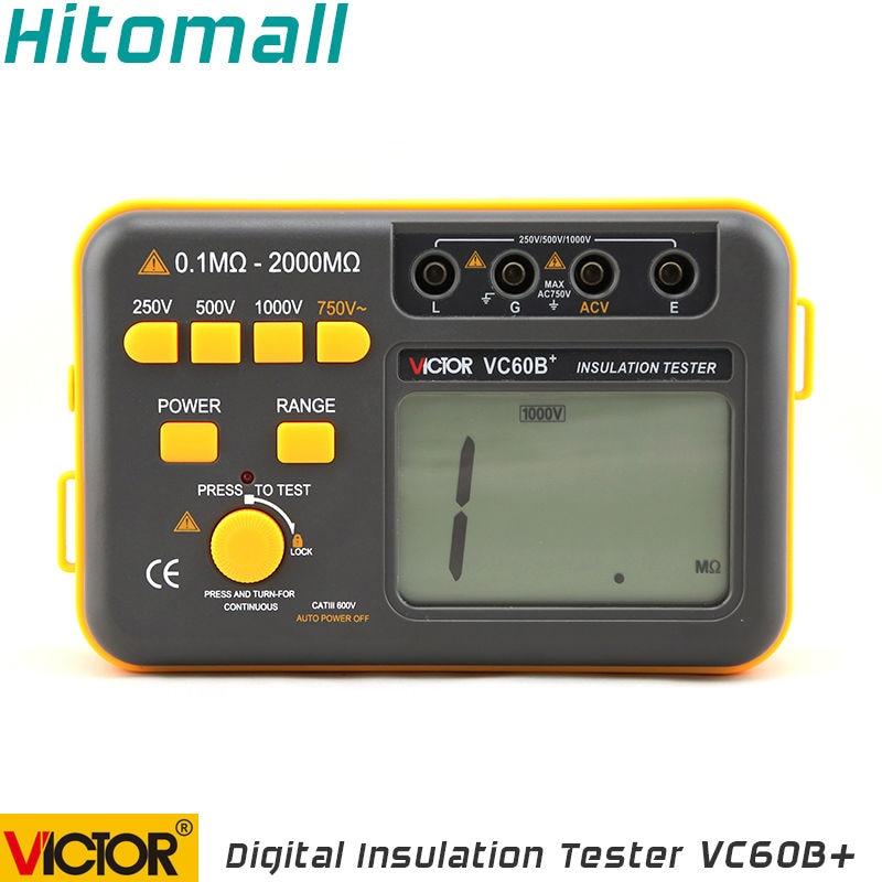 Professional  Digital Multimeter Ground Resistance Meter Magger Meter Victor 250V 500V 1000V Digital Insulation Tester VC60B+